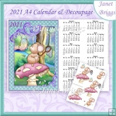 MUSHROOM MOUSE 2021 A4 UK Calendar with Decoupage Kit