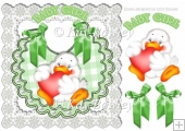 Cute little duck on a bib with bows and lace 8x8