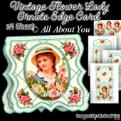 Vintage Flower Lady Ornate Edge Card