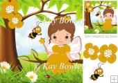 cute little faerie in gold sitting on a branch with bee 8x8
