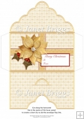 Christmas Money Wallet Gift Voucher Envelope GOLD POINSETTIA