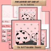 Pink Ladybird 5x5 card Topper Kit