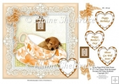 "Peach Teacup Sleeping Puppy Dog 8"" x 8"" Card Topper & Decoupage"
