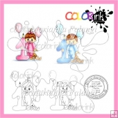 1st birthday babies and sentiment Digi stamps