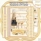 CHAMPAGNE 7.5 Alphabet Gold Wedding Anniversary Alphabet Kit
