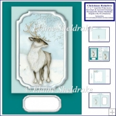 5 x 7 Christmas Reindeer Card Kit With Matching Insert+ Envelope