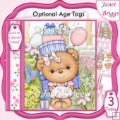 PARTY GIRL BEAR 7.5 Decoupage & Insert Kit
