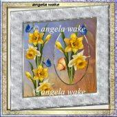 Golden daffodil 7x7 card with insert and decoupage