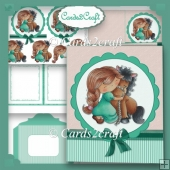 Girl and pony card set