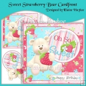 Sweet Strawberry Bear Cardfront with Decoupage