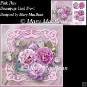 Pink Posy Decoupage Card Front