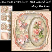 Peaches and Cream Roses - Multi-Layered Card