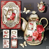 Brass Vintage Teapot with Red Roses