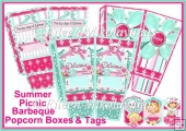 Summer Picnic Barbeque Popcorn Boxes Set with Bonus Tags