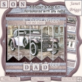 CLASSIC CAR 7.5 Alphabet and Age Quick Card Kit Create Any Name