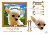 Chihuahua Puppy Dog & Bone 6 x 6 Card Topper With Decoupage