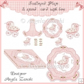 BABY GIRL SCALLOPED PLATE CARD WITH BOX & STAND