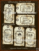 Grungy Primitive Christmas Stitchery Tag Set