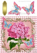 pink hydrangeas in gingham & ornate frame with butterflies 8x8