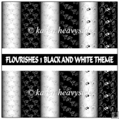 Flourishes 1 Black And White Theme Papers