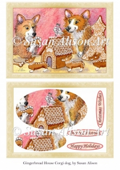 Corgi Dogs Making a Gingerbread House, Christmas Card