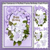 Lilac Gardenia In Ruffled Frame Birthday Card Front