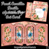 Peach Camillia Double Aperture Pop Out Card