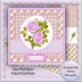 Lilac Pink Roses 6 by 6 Card Front