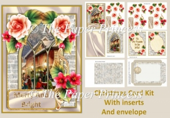 Merry Christmas Card Kid with decoupage, inserts and envelope