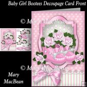 Baby Girl Bootees Decoupage Card Front