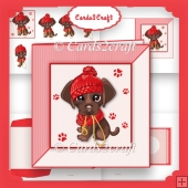 Little pup in a red hat card set