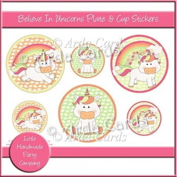 Believe In Unicorns Plate & Cup Stickers