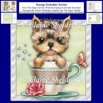 Teacup Yorkshire Terrier Over The Edge Card Kit + Insert etc.