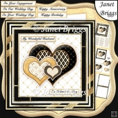 BLACK & GOLD HEARTS Various Occasions 6x6 Decoupage Card Kit