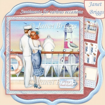ROMANTIC SEA VIEW 8x8 Decoupage & Insert Kit Various Occasions