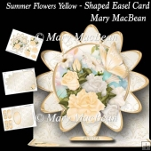 Summer Flowers Yellow - Shaped Easel Card