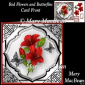 Red Flowers and Butterflies Card Front