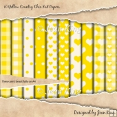 10 Yellow Country Chic 8x8 Papers