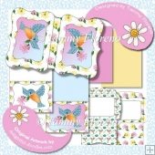 Spring Bluebird and Daisies Notelet Set