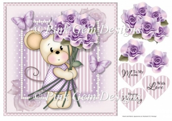 Maisy with Lilac Roses Mothers Day/Birthday Topper