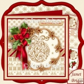 Holly Ribbon & Gold Bauble Christmas 8x8 Decoupage Kit