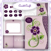 Wavey edge Pansy card set