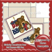 Birthday Americana Bear 5x5 Square Gift Box