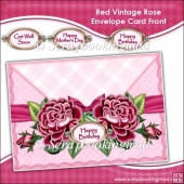 Red Vintage Rose Envelope Card Front