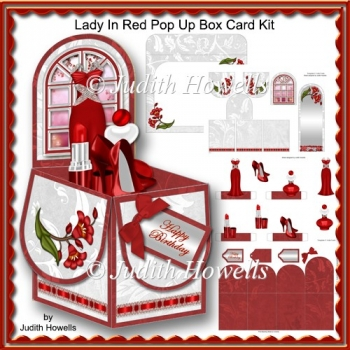 Lady In Red Pop Up Box Card Kit