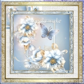 Blue flower 7x7 card with decoupage