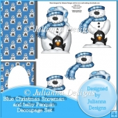 Blue Christmas Snowman and baby Penquin Decoupage Set