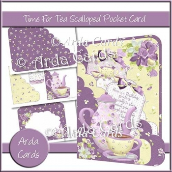 Time For Tea Scalloped Pocket Card