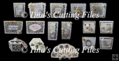 16 Pretty Filigree Cutting Files cards, toppers, box, tags