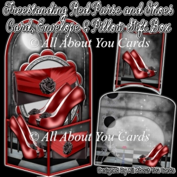 Freestanding Red Purse and Shoe Card, Envelope & Pillow Gift Box